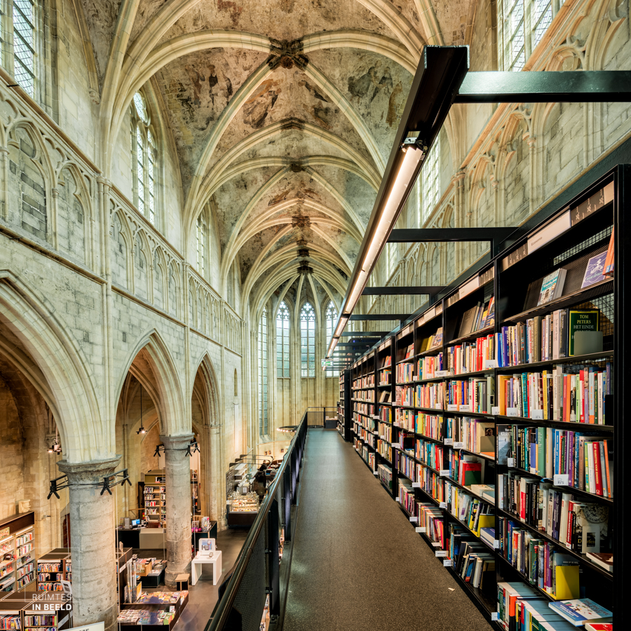 MAASTRICHT, NETHERLANDS - MAY 11: Unique venue for a bookshop, built in basilica Dominicanen, church from 1294, seen by many as most beautiful bookshop in the world, on May 11, 2015 in Maastricht, Netherlands